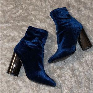 Blue Velvet Booties